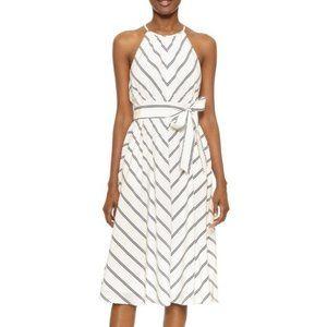 Club Monaco silk white chevron Vonna dress